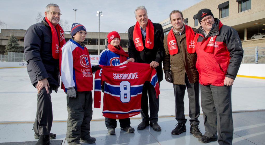 Inauguration of the 8th BLEU BLANC BOUGE outdoor rink in Sherbrooke